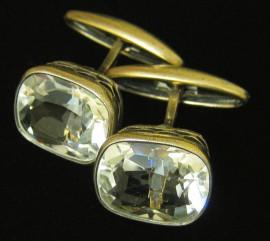 Серебряные запонки с горным хрусталем
