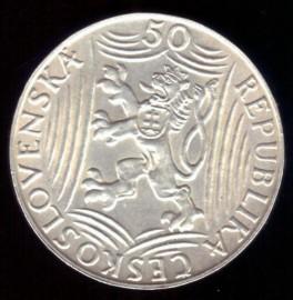 Монета Чехословакия 50 крон И. В. Сталин