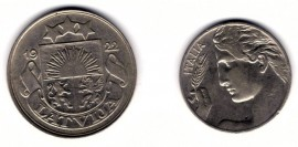 Латвия 50 сантимов 1922, Италия 20 чентезимо 1909